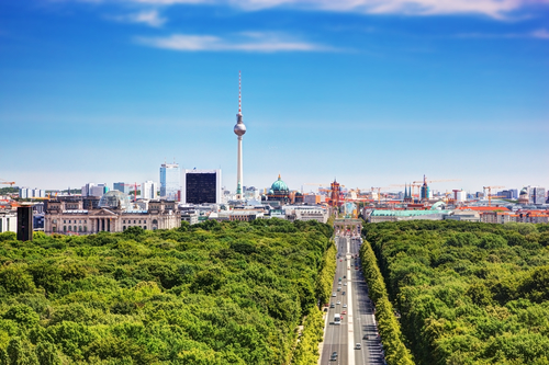 Berlin panorama. Berlin TV Tower and major landmarks