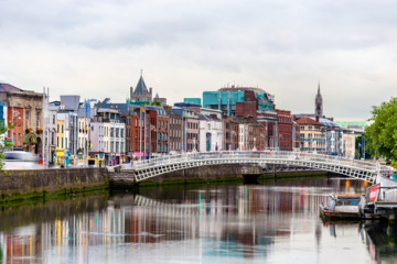 View of Dublin with the Ha'penny Bridge - Ireland