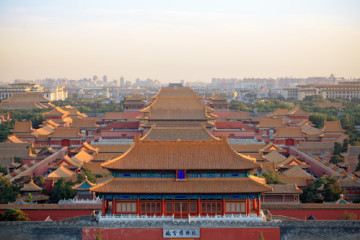aerial view of beijing forbidden city at dusk