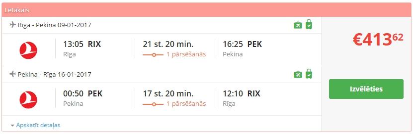 Aviobiļetes no Rīgas uz Pekinu