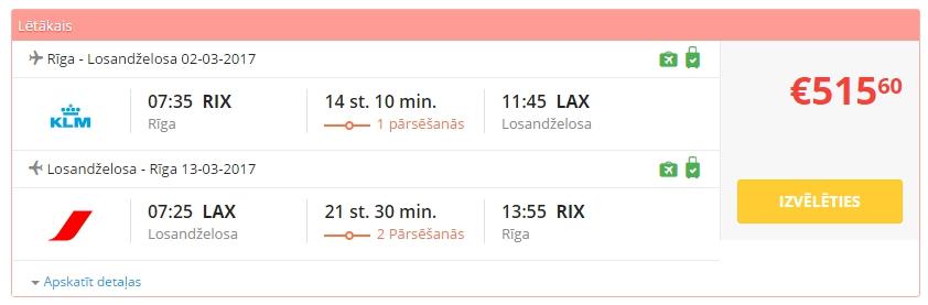 Rīga - Losandželosa biļetes